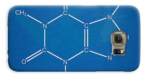 Caffeine Molecular Structure Blueprint Galaxy Case by Nikki Marie Smith