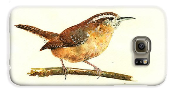 Carolina Wren Watercolor Painting Galaxy S6 Case by Juan  Bosco