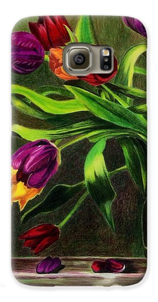Galaxy S6 Case featuring the painting Cascading Tulips by Patti Ferron