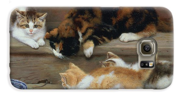 Cat And Kittens Chasing A Mouse   Galaxy S6 Case by Rosa Jameson
