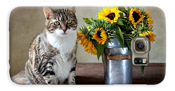 Flowers Galaxy S6 Case - Cat And Sunflowers by Nailia Schwarz