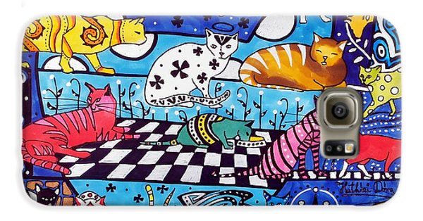 Galaxy S6 Case featuring the painting Cat Cocktail - Cat Art By Dora Hathazi Mendes by Dora Hathazi Mendes