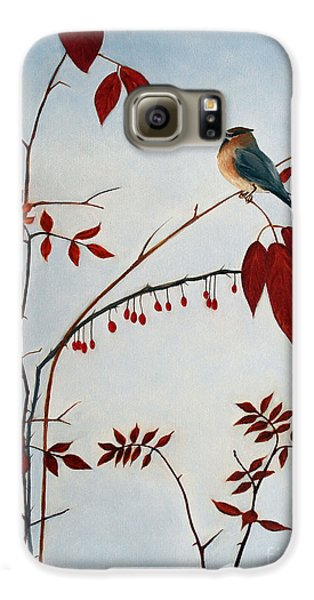 Cedar Waxwing Galaxy S6 Case by Laura Tasheiko