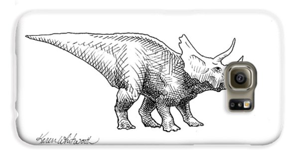 Cera The Triceratops - Dinosaur Ink Drawing Galaxy S6 Case