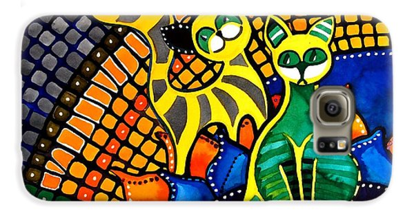 Galaxy S6 Case featuring the painting Cheer Up My Friend - Cat Art By Dora Hathazi Mendes by Dora Hathazi Mendes