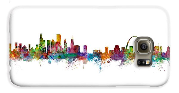 Chicago And St Louis Skyline Mashup Galaxy S6 Case by Michael Tompsett