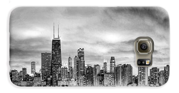 Chicago Gotham City Skyline Black And White Panorama Galaxy S6 Case by Christopher Arndt