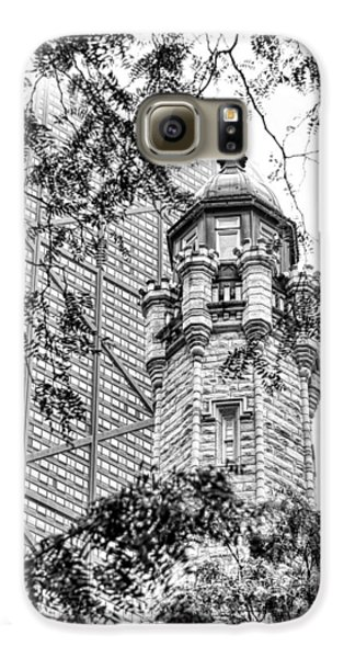 Galaxy S6 Case featuring the photograph Chicago Historic Water Tower Fog Black And White by Christopher Arndt