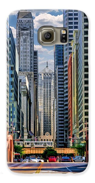 Galaxy S6 Case featuring the painting Chicago Lasalle Street by Christopher Arndt