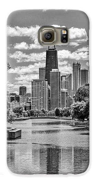 Galaxy S6 Case featuring the painting Chicago Lincoln Park Lagoon Black And White by Christopher Arndt