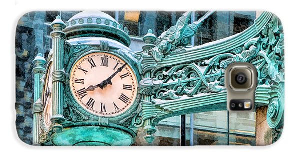Galaxy S6 Case featuring the painting Chicago Marshall Field State Street Clock by Christopher Arndt