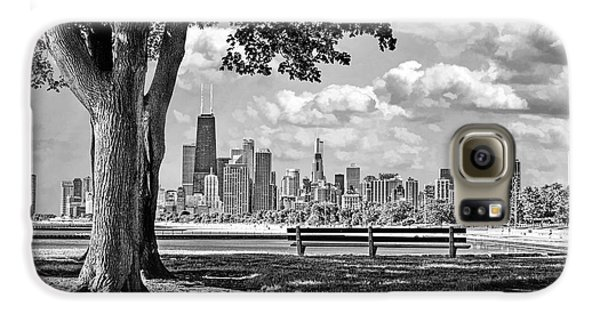 Galaxy S6 Case featuring the photograph Chicago North Skyline Park Black And White by Christopher Arndt