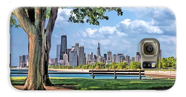 Galaxy S6 Case featuring the painting Chicago North Skyline Park by Christopher Arndt