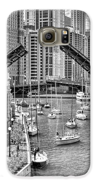 Galaxy S6 Case featuring the photograph Chicago River Boat Migration In Black And White by Christopher Arndt