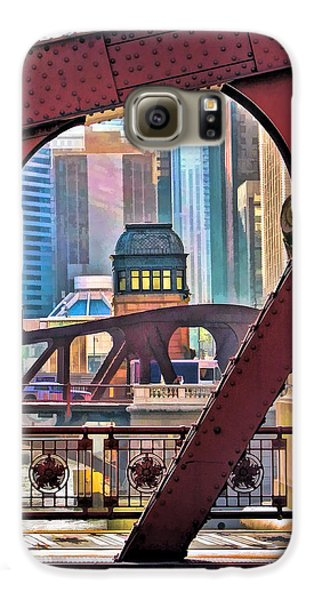 Galaxy S6 Case featuring the painting Chicago River Bridge Framed by Christopher Arndt