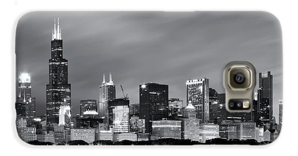 Galaxy S6 Case featuring the photograph Chicago Skyline At Night Black And White  by Adam Romanowicz