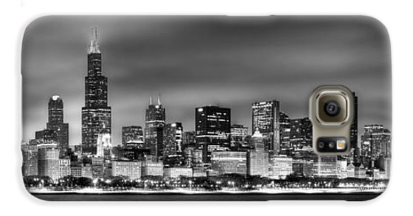 City Scenes Galaxy S6 Case - Chicago Skyline At Night Black And White by Jon Holiday
