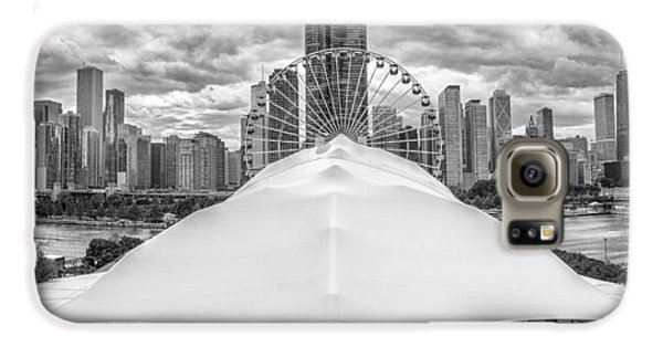 Galaxy S6 Case featuring the photograph Chicago Skyline From Navy Pier Black And White by Adam Romanowicz