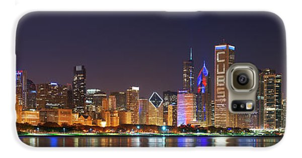 Chicago Skyline With Cubs World Series Lights Night, Chicago, Cook County, Illinois,  Galaxy S6 Case