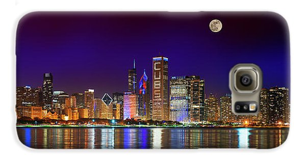 Chicago Skyline With Cubs World Series Lights Night, Moonrise, Lake Michigan, Chicago, Illinois Galaxy S6 Case