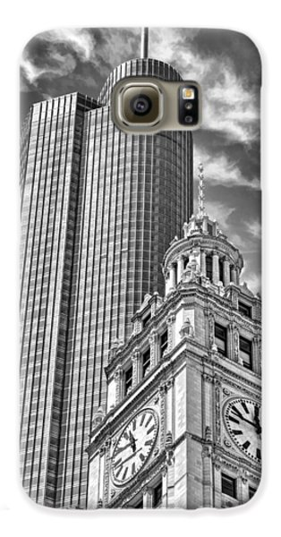 Galaxy S6 Case featuring the photograph Chicago Trump And Wrigley Towers Black And White by Christopher Arndt