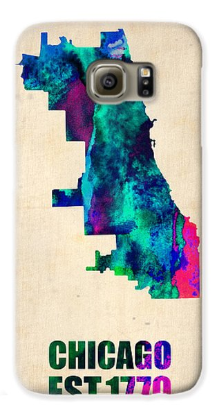 Chicago Watercolor Map Galaxy S6 Case by Naxart Studio