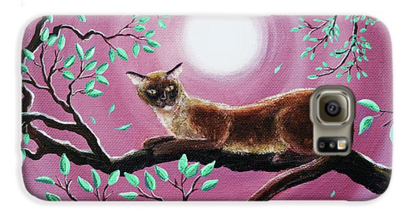 Chocolate Burmese Cat In Dancing Leaves Galaxy S6 Case by Laura Iverson