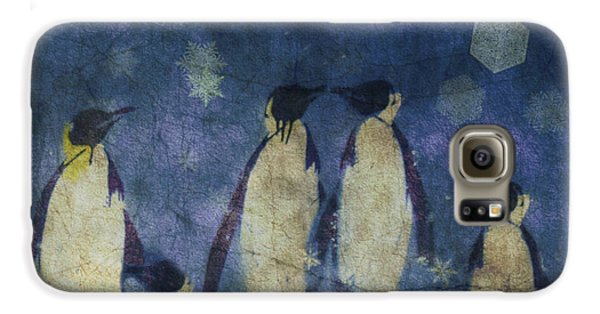 Penguin Galaxy S6 Case - Christmas Moon  by Paul Lovering