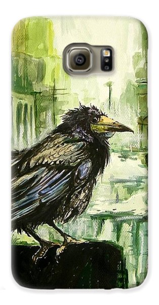 Pigeon Galaxy S6 Case - Cityscape With A Crow by Suzann's Art