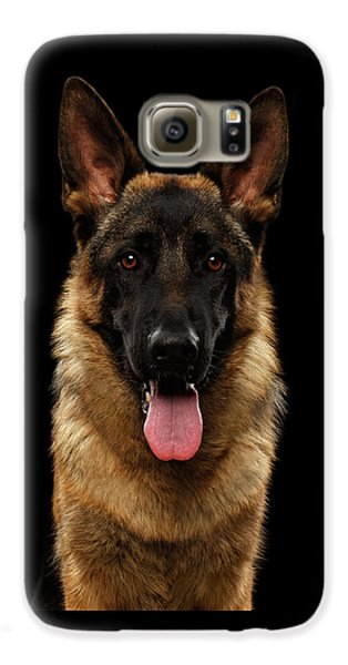 Closeup Portrait Of German Shepherd On Black  Galaxy S6 Case by Sergey Taran