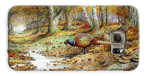Pheasant Galaxy S6 Case - Cock Pheasant And Sulphur Tuft Fungi by Carl Donner