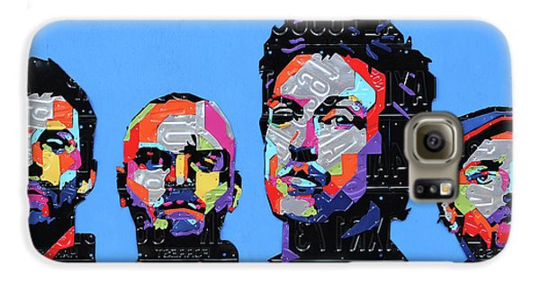 Coldplay Band Portrait Recycled License Plates Art On Blue Wood Galaxy S6 Case