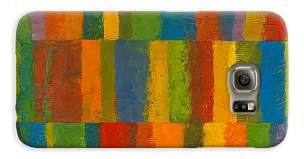 Galaxy S6 Case featuring the painting Color Collage With Stripes by Michelle Calkins