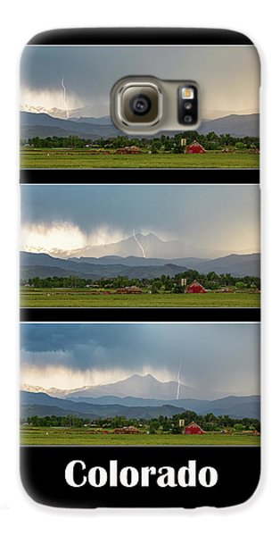 Galaxy S6 Case featuring the photograph Colorado Front Range Longs Peak Lightning And Rain Poster by James BO Insogna