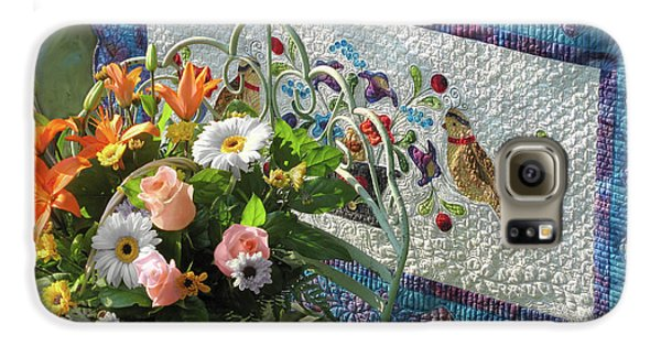 Galaxy S6 Case featuring the mixed media Colordance With Quail Quilt by Nancy Lee Moran