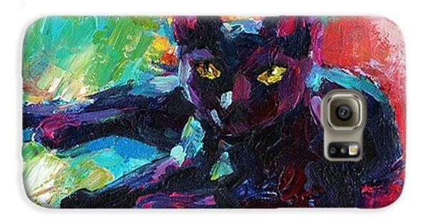Galaxy S6 Case - Colorful Black Cat Painting By Svetlana by Svetlana Novikova