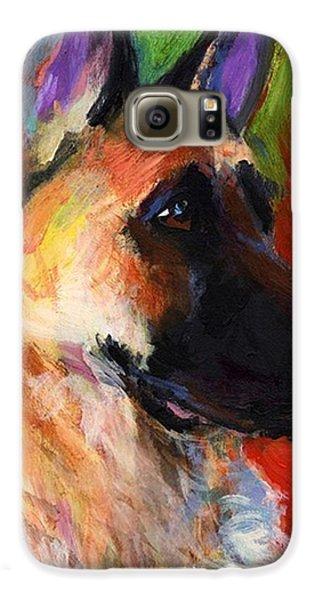 Galaxy S6 Case - Colorful German Shepherd Painting By by Svetlana Novikova