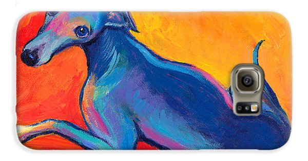 Colorful Greyhound Whippet Dog Painting Galaxy S6 Case