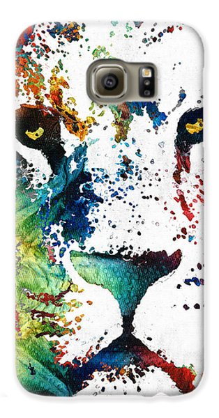 Colorful Lion Art By Sharon Cummings Galaxy S6 Case by Sharon Cummings