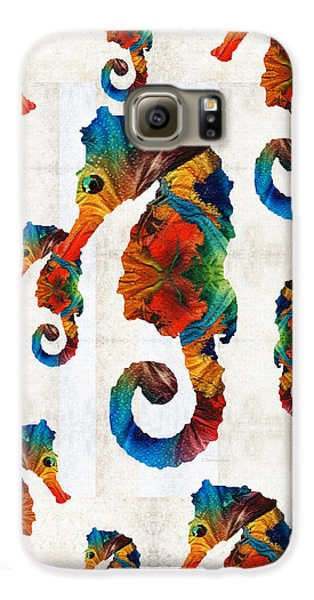 Colorful Seahorse Collage Art By Sharon Cummings Galaxy S6 Case by Sharon Cummings