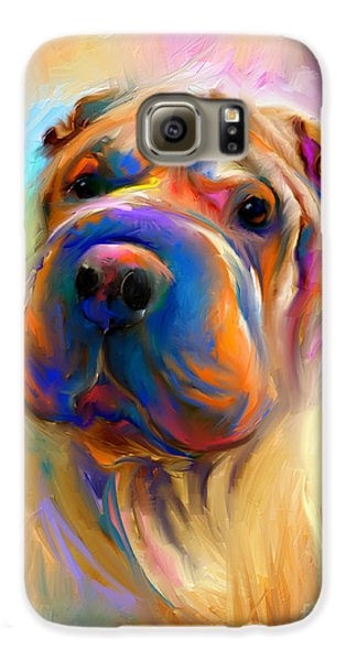 Colorful Shar Pei Dog Portrait Painting  Galaxy S6 Case