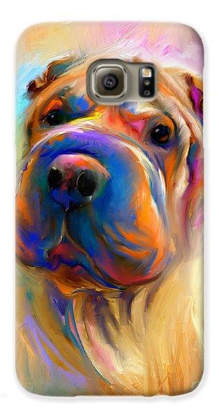 Colorful Shar Pei Dog Portrait Painting  Galaxy S6 Case by Svetlana Novikova