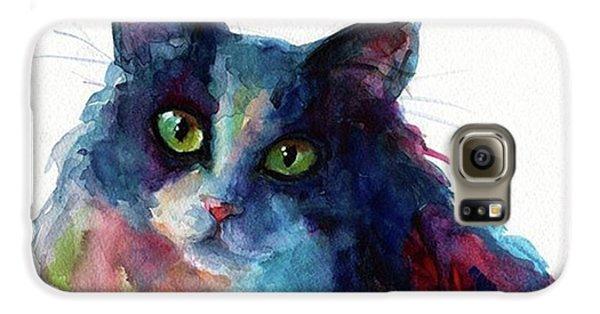 Galaxy S6 Case - Colorful Watercolor Cat By Svetlana by Svetlana Novikova