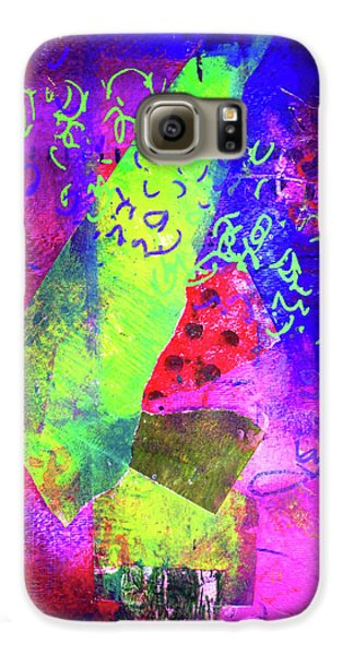 Galaxy S6 Case featuring the mixed media Confetti by Nancy Merkle