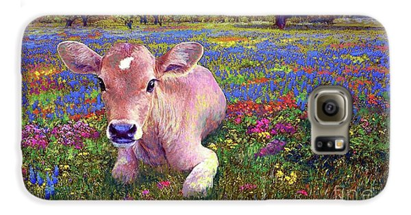 Contented Cow In Colorful Meadow Galaxy S6 Case