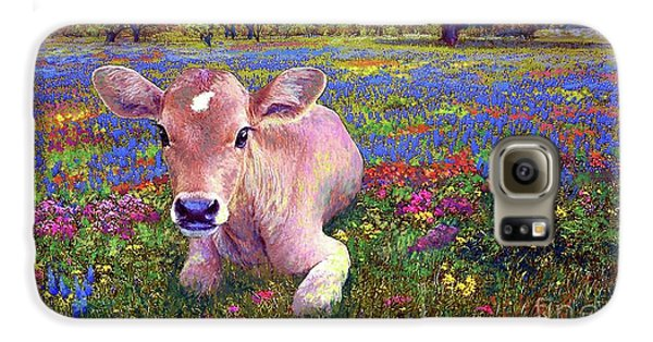 Cow Galaxy S6 Case - Contented Cow In Colorful Meadow by Jane Small