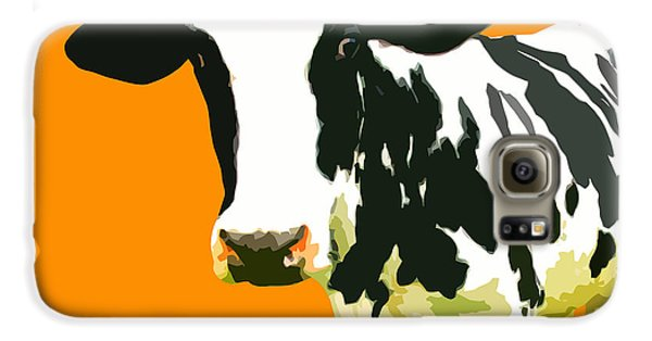 Cow Galaxy S6 Case - Cow In Orange World by Peter Oconor