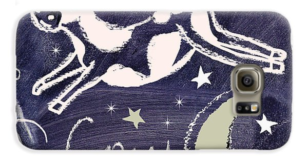 Cow Galaxy S6 Case - Cow Jumped Over The Moon Chalkboard Art by Mindy Sommers