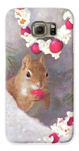 Galaxy S6 Case featuring the painting Cranberry Garlands Christmas Squirrel by Nancy Lee Moran