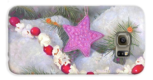 Galaxy S6 Case featuring the painting Cranberry Garlands Christmas Star In Orchid by Nancy Lee Moran